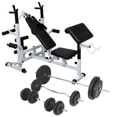 Gewichtenbank met gewichtenrek en halterset 90 kg