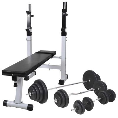Trainingsbank met gewichtenrek en halterset 120 kg