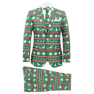 Tweedelig kerstpak met stropdas mannen maat 48 feestelijk groen