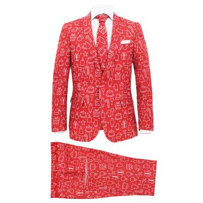 Tweedelig kerstpak met stropdas mannen maat 52 kerstrood