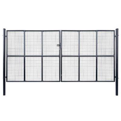 Tuinhek 400x175 cm mesh gegalvaniseerd staal grijs