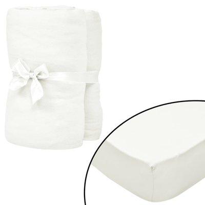 Hoeslakens 120x200 cm katoenen jersey stof gebroken wit 2 st
