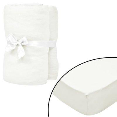 Hoeslakens 190x200 cm katoenen jersey stof gebroken wit 2 st