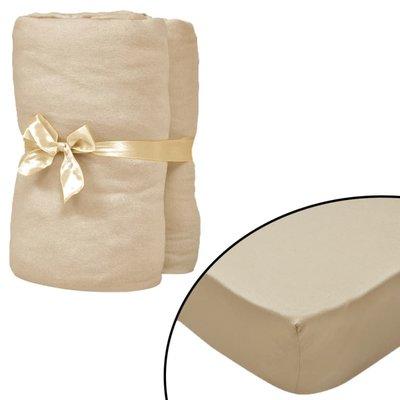 Hoeslakens 190x200 cm katoenen jersey stof beige 2 st