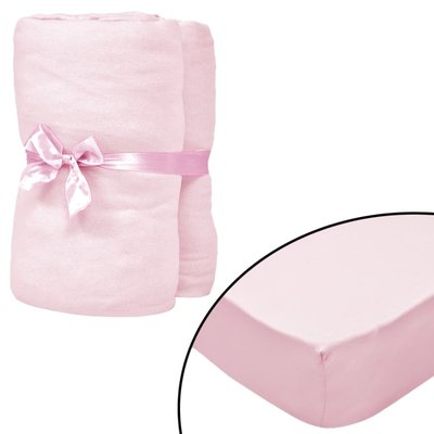 Hoeslakens voor wiegjes 40x80 cm katoenen jersey stof roze 4 st