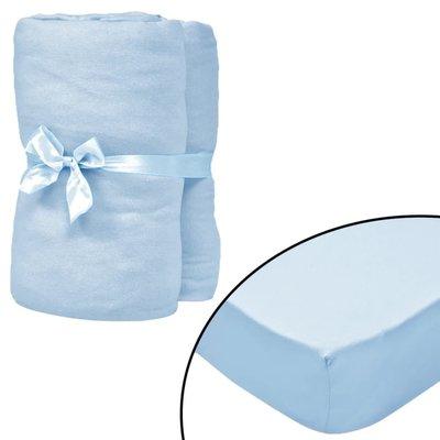 Hoeslaken wiegje 60x120 cm katoenen jersey stof lichtblauw 4 st