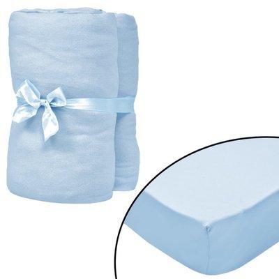 Hoeslaken wiegje 70x140cm katoenen jersey stof lichtblauw 4 st