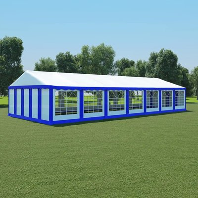 Tuinpaviljoen 6x14 m PVC blauw en wit