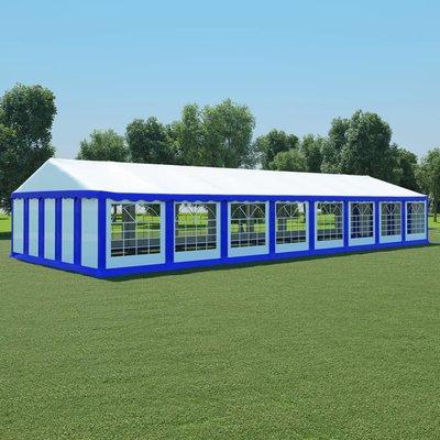 Tuinpaviljoen 6x16 m PVC blauw en wit