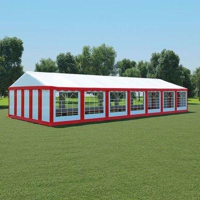 Tuinpaviljoen 6x14 m PVC rood en wit