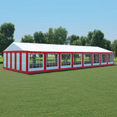 Tuinpaviljoen 6x16 m PVC rood en wit