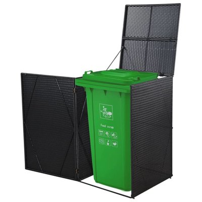 Containerberging enkel 76x78x120 cm poly rattan zwart