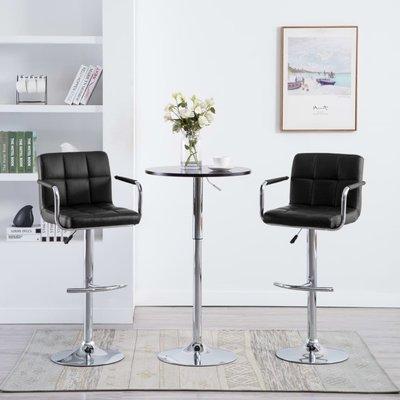Barstoel met armleuningen kunstleer zwart 2 st