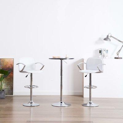 Barstoel met armleuningen kunstleer wit 2 st