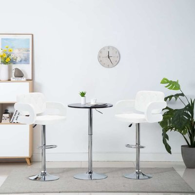 Barstoel draaibaar 54x58x115 cm kunstleer wit 2 st