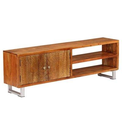 Tv-meubel met bewerkte deuren 140x30x40 cm massief hout