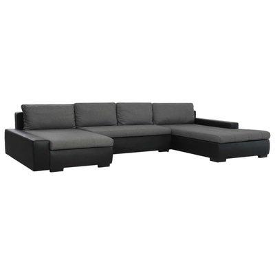 Slaapbank modulair kunstleer zwart en donkergrijs