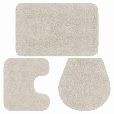 Badmattenset stof wit 3-delig