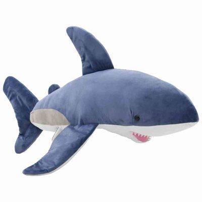 Knuffel witte haai pluche blauw en wit