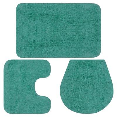 Badmattenset stof turquoise 3-delig