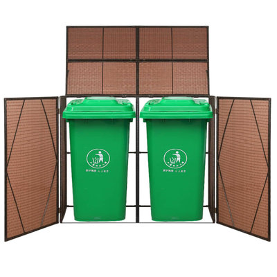 Containerberging dubbel 153x78x120 cm poly rattan bruin