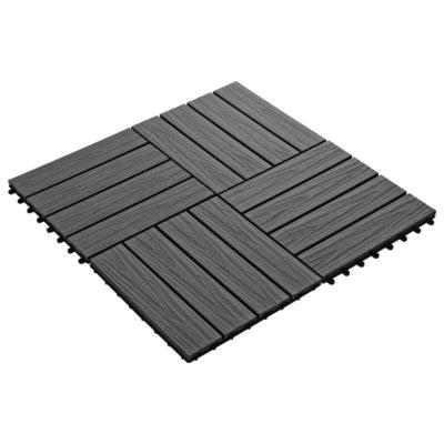 Terrastegels diep reliëf 30x30 cm 1 m² HKC zwart 11 st
