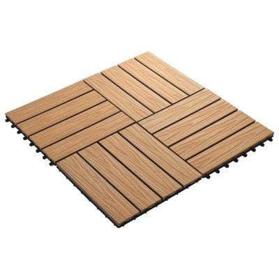 Terrastegels diep reliëf 30x30 cm 1 m² HKC teakkleur 11 st