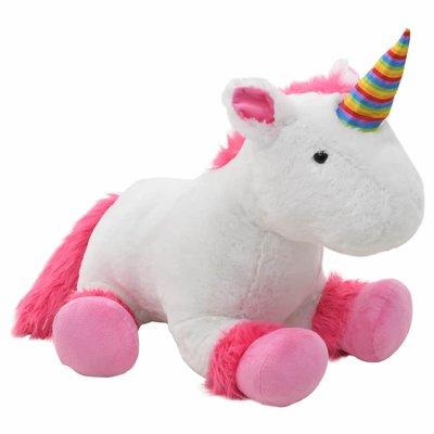 Knuffel eenhoorn pluche roze en wit