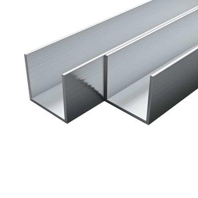 Kanalen U-profiel 2m 15x15x2 mm aluminium 4 st