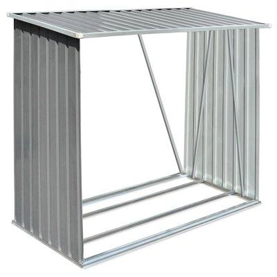 Haardhoutschuur 163x83x154 cm gegalvaniseerd staal grijs