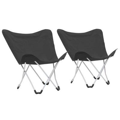 Vlinderstoelen inklapbaar zwart 2 st