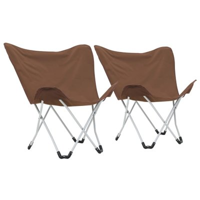 Vlinderstoelen inklapbaar bruin 2 st