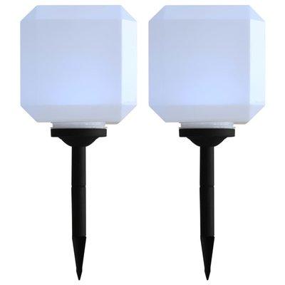 LED-solarlampen kubus 20 cm wit 2 st
