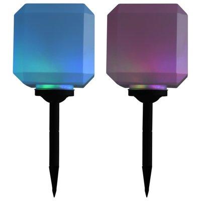 LED-solarlampen kubus 20 cm RGB 2 st