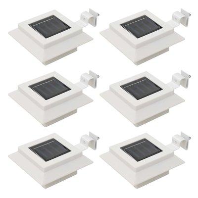 LED-solarlampen vierkant 12 cm wit 6 st