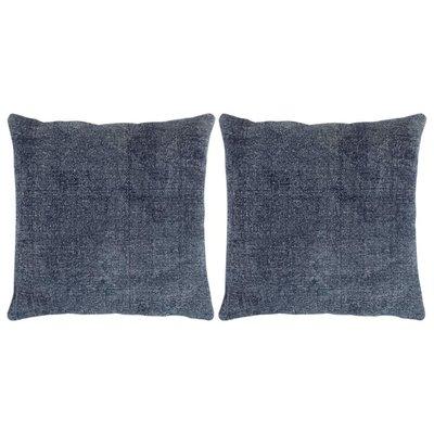 Kelim kussens handgemaakt 45x45 cm blauw 2 st
