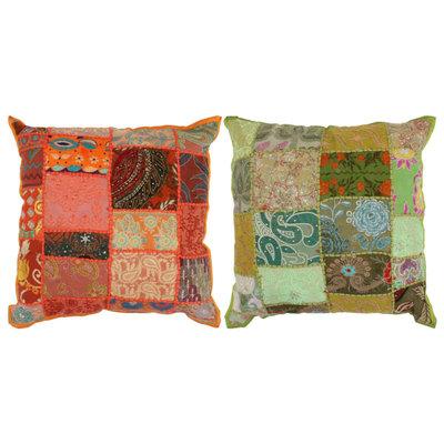 Kussens patchwork handgemaakt 45x45 cm oranje/groen 2 st