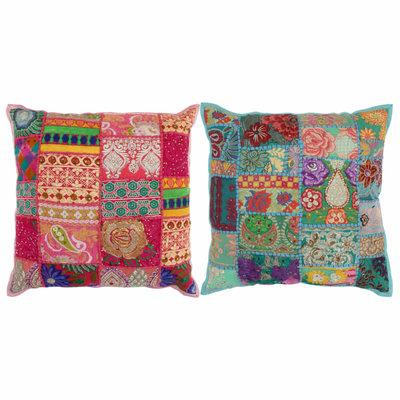 Kussens patchwork handgemaakt 45x45 cm roze/turquoise 2 st