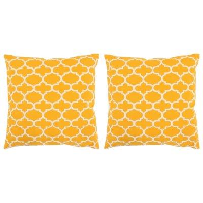 Sierkussens met patroon handgemaakt 45x45 cm geel 2 st