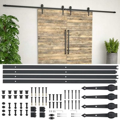 Onderdelenset voor schuifdeur 2x183 cm staal zwart