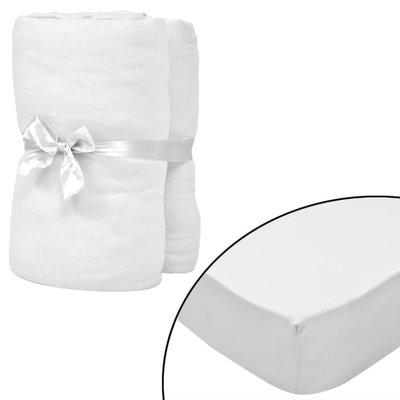 Hoeslaken wieg 70x140 cm katoenen jersey stof wit 4 st