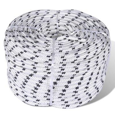 Boottouw gevlochten 8 mm 250 m polyester wit