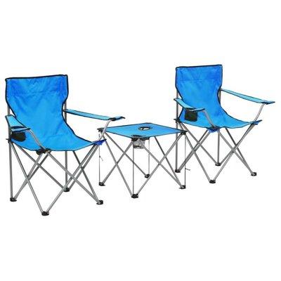 Campingtafel en -stoelenset blauw 3-delig