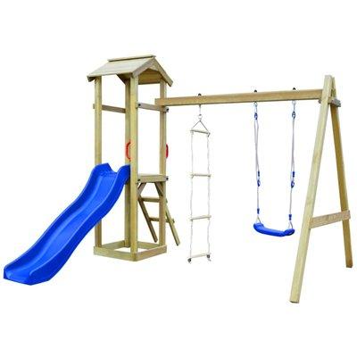 Speelhuis met glijbaan, ladders en schommel 242x237x218 cm hout