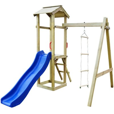 Speelhuis met glijbaan en ladders 237x168x218 cm FSC hout