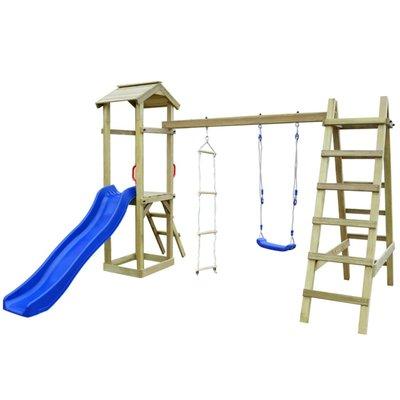 Speelhuis met glijbaan, ladders en schommel 286x237x218 cm hout