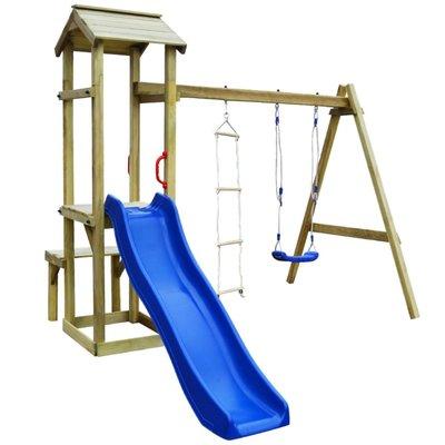Speelhuis met glijbaan, schommel en ladder 238x228x218 cm hout