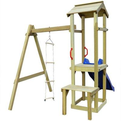 Speelhuis met glijbaan en ladder 228x168x218 cm FSC hout