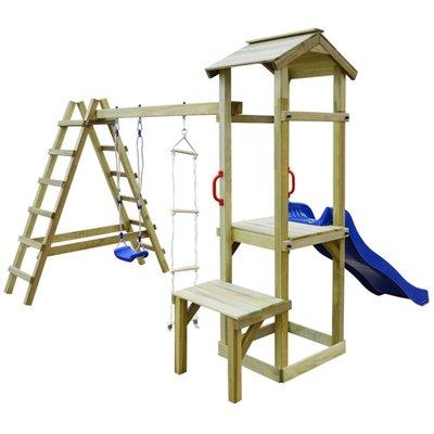 Speelhuis met glijbaan, ladders en schommel 286x228x218 cm hout