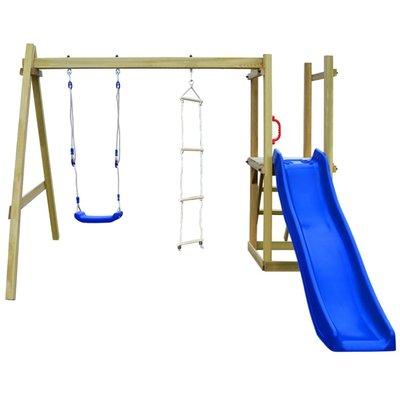 Speelhuis met glijbaan, ladders en schommel 242x237x175 cm hout